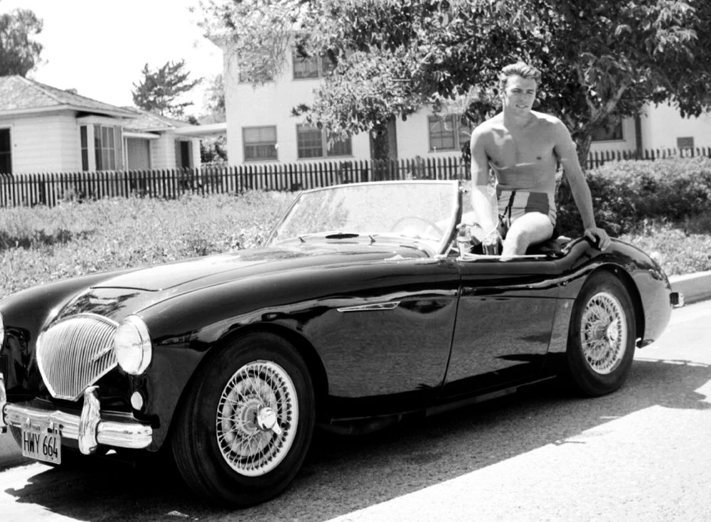 Young Clint Eastwood with mid '50s Healey