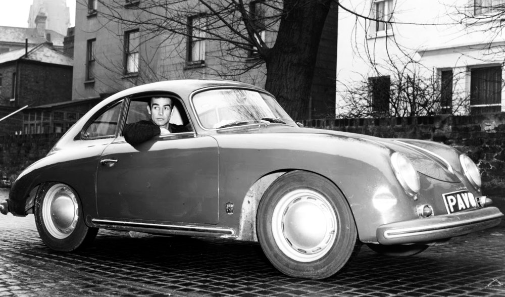 Sean Connery at the wheel of his Porsche 356