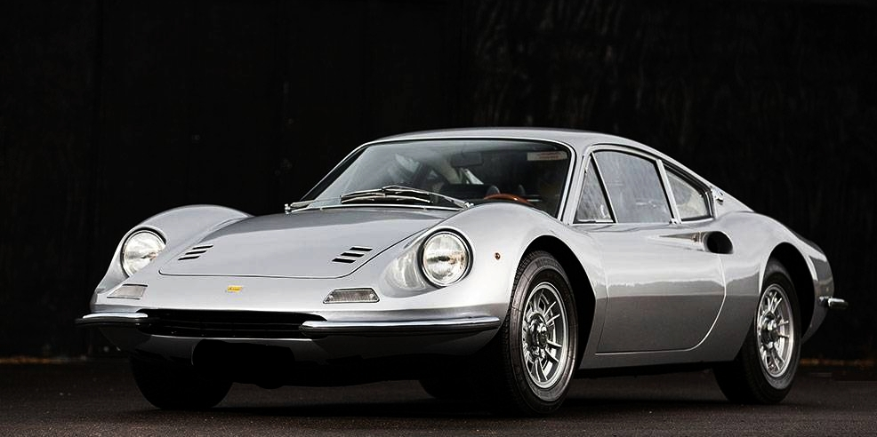 The 1968 Dino 206GT. No Ferrari script or lettering, as Enzo didn't want to put his name to a car with only 6 cylinders