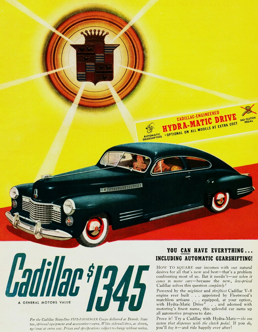 With the option of Hydra-matic drive for the first time - Cadillac for 1941.
