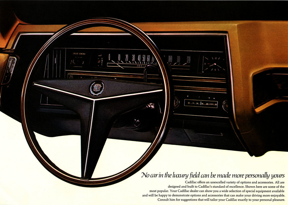 1967 Cadillac instrument panel & steering wheel - soon to be copied around the world.