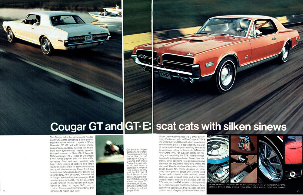 1968 Courgar GT and GT-E: scat cats with silken sinews
