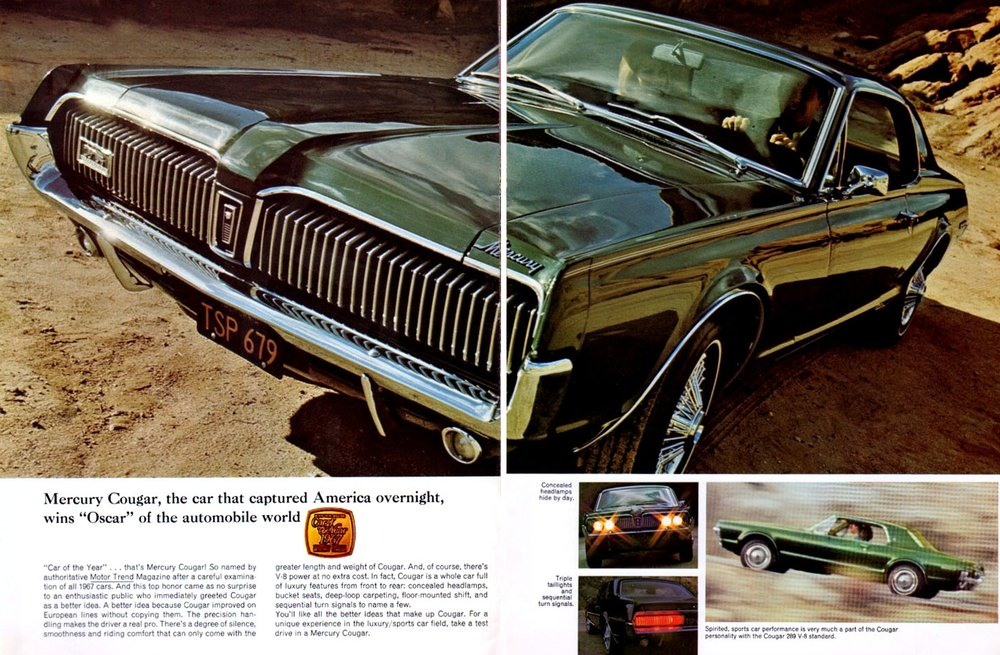 "1967 Cougar - wins ""Oscar"" of the automobile world"