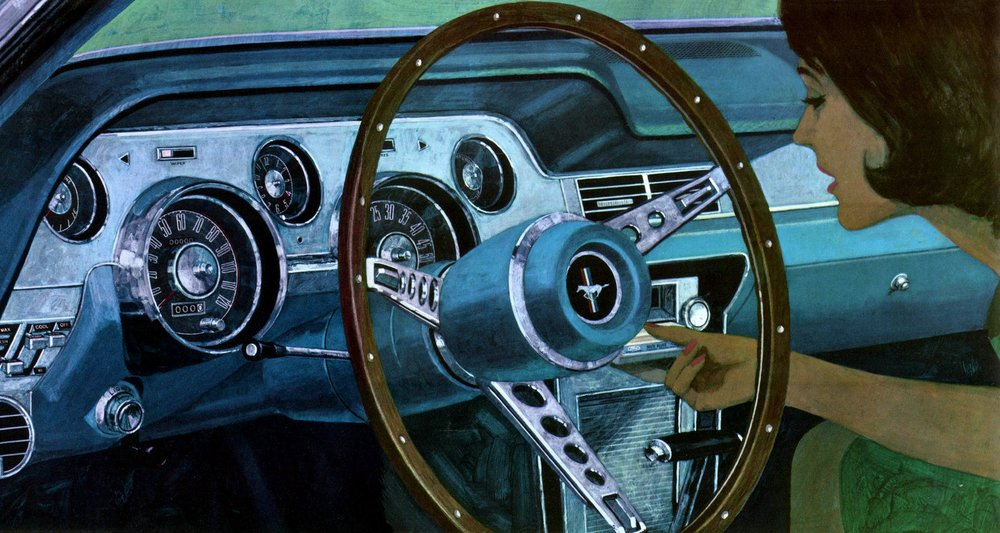 1967 Mustang interior in Aqua, with 8-track tape player