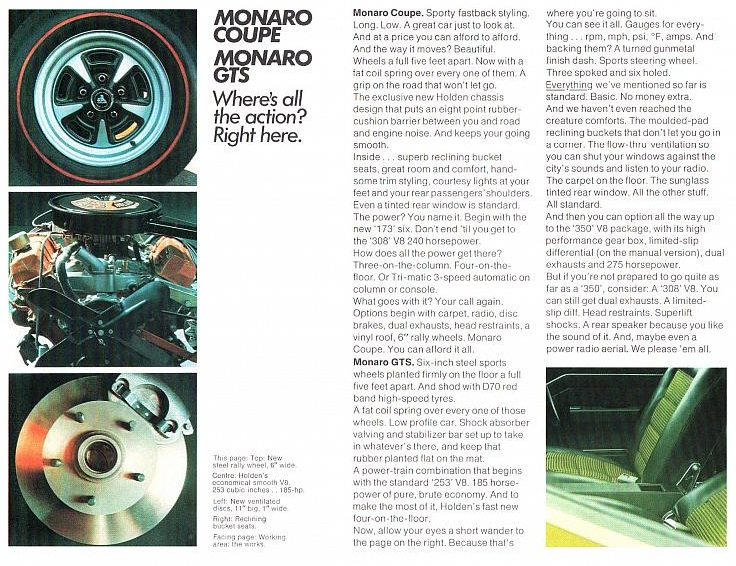Monaro coupe and GTS - where the action is