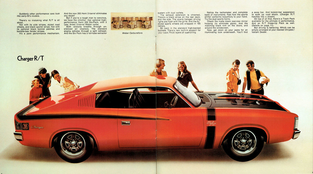 Print ad for the VH R/T - note the rear windows have been removed!