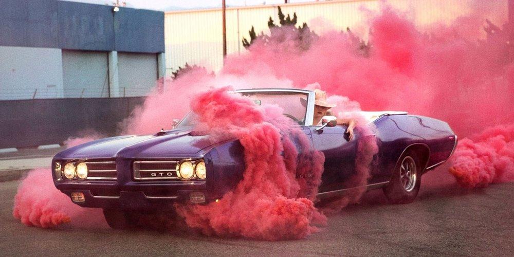 Lady Gaga and a 1968 Pontiac GTO convertible