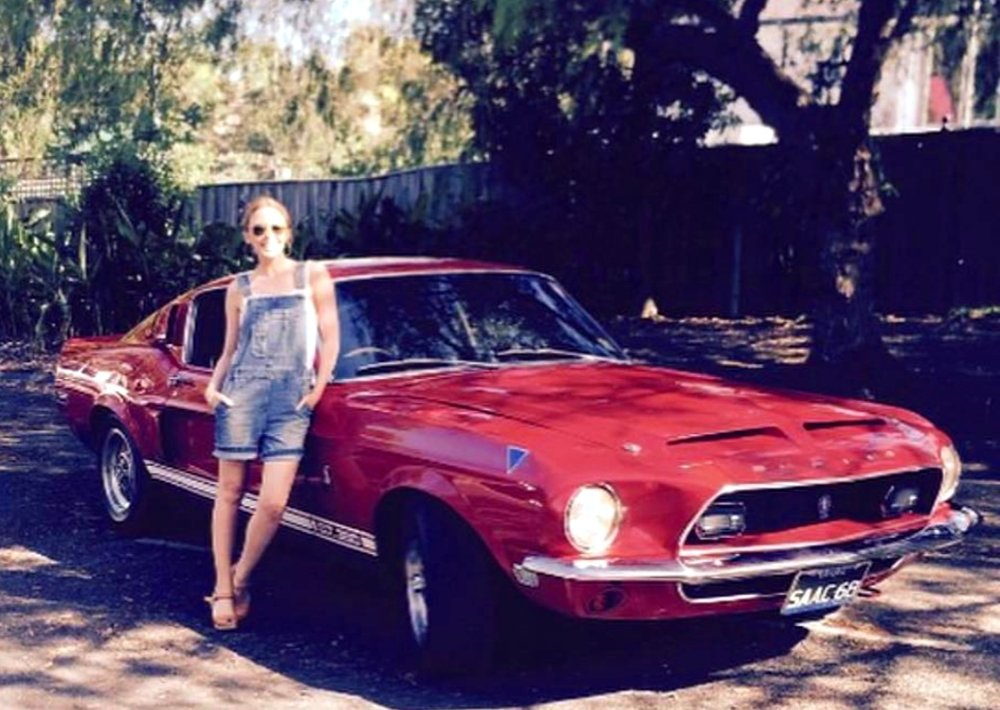 Kylie Minogue with father Ron's 1968 Shelby Mustang