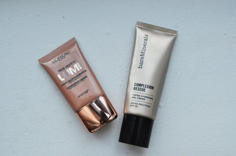 L'OréalParis True Match Lumi Liquid Glow Illuminator, bareMinerals Complexion Rescue Tinted Hydrating Gel Cream