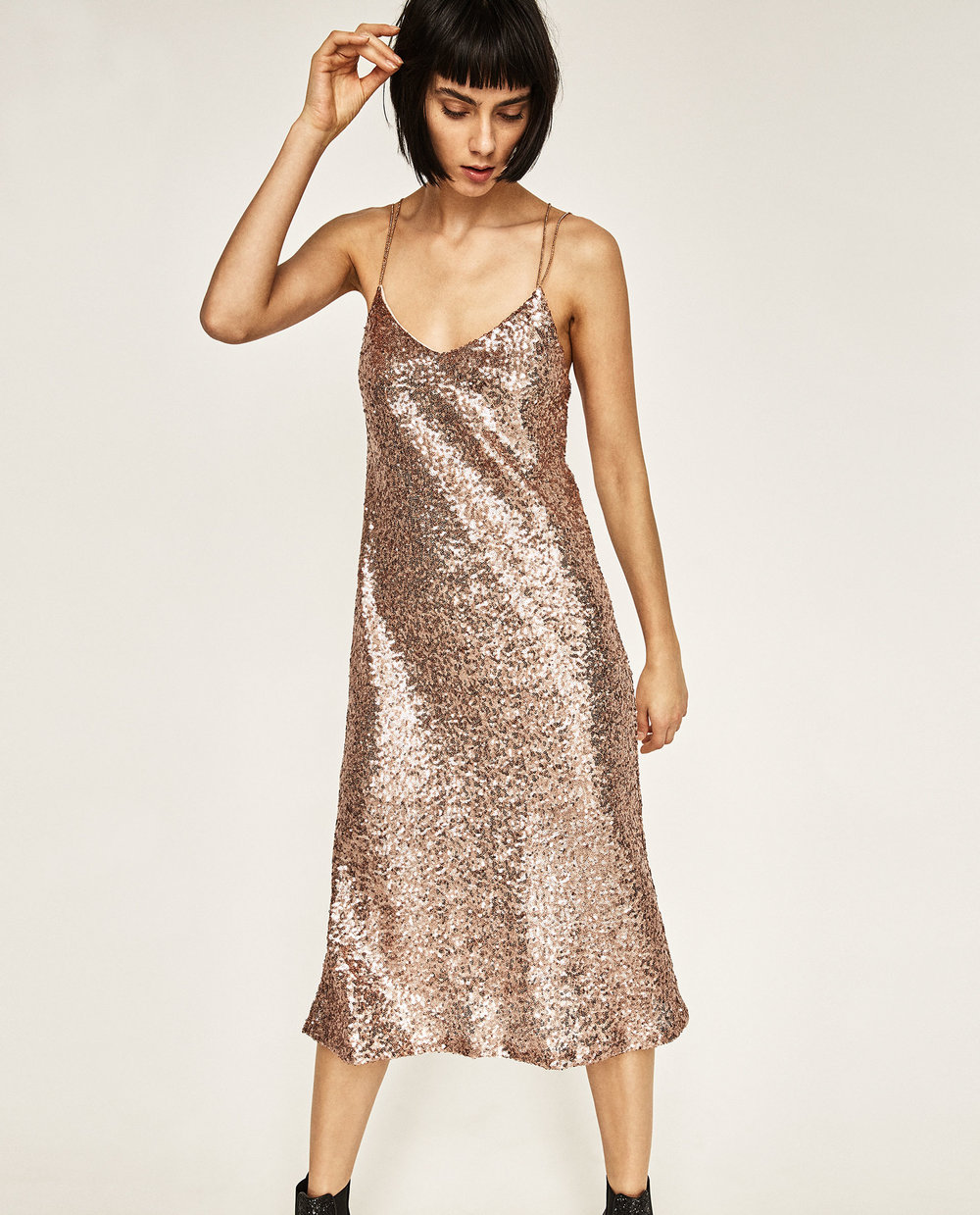 Photo via Zara.com   Zara, Long Sequinned Dress, $35.99