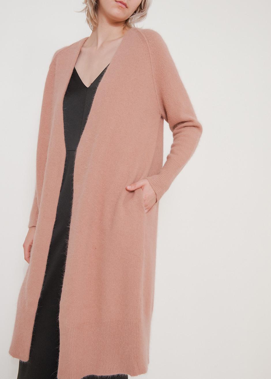 Pink Angora Long Cardigan, $300;  Thefrankieshop.com