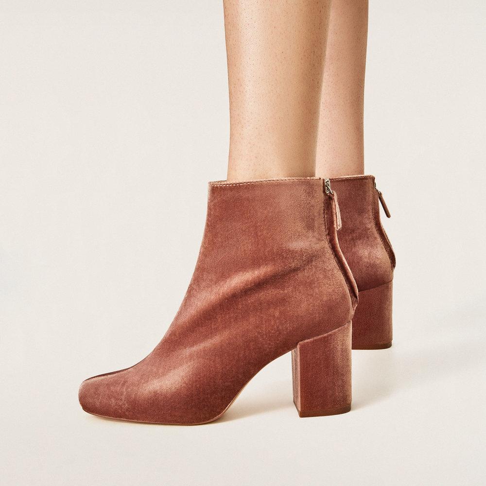 High Heel Velvet Ankle Boots, $50;  Zara.com