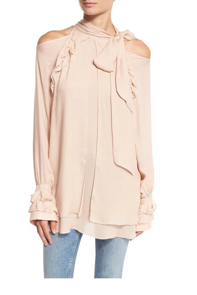 Frejan Voile Cold-Shoulder Top, $290; Neimanmarcus.com