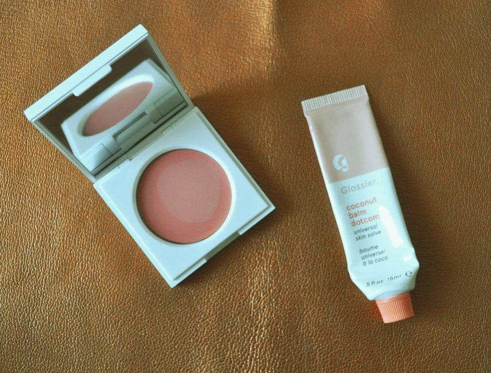 Honest Beauty Crème Cheek Blush, $13 ,  Glossier Balm Dotcom, $12