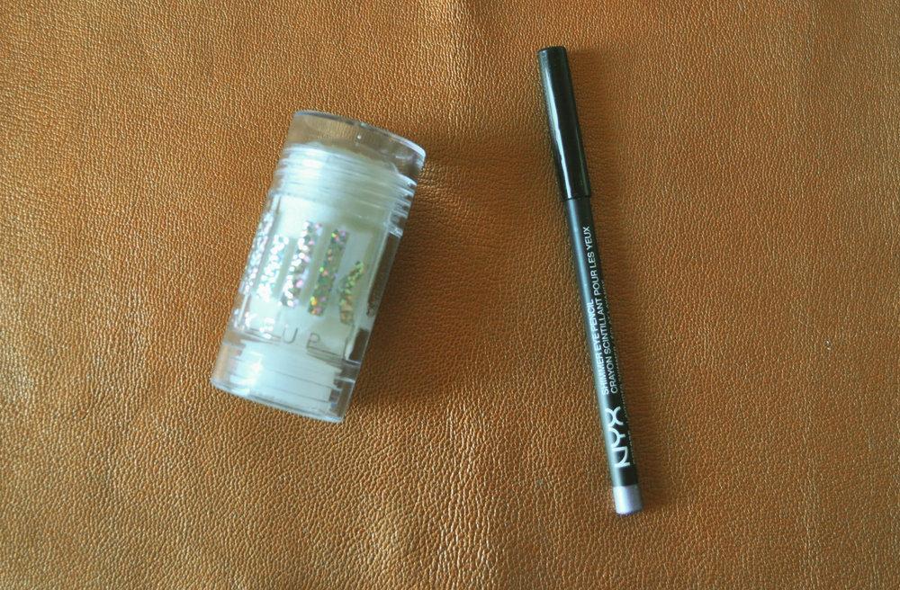 Milk Makeup Glitter Stick $30 ,  NYX Cosmetics Shimmer Eye Pencil, $4.50