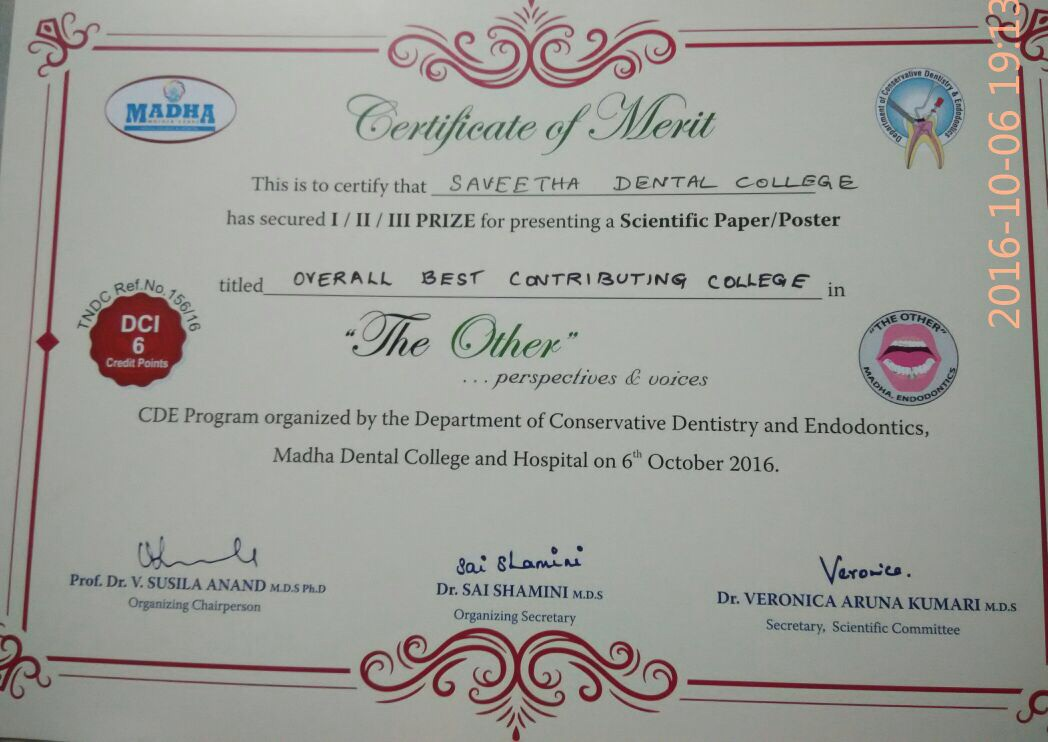 We Got Overall Best Contributing College Saveetha Dental College