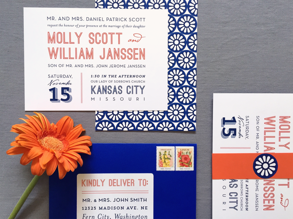 Modern Kansas City Wedding Invitation