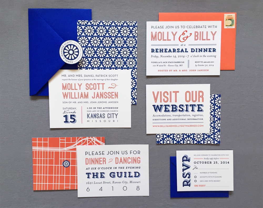 Modern Kansas City Wedding Invitation Suite