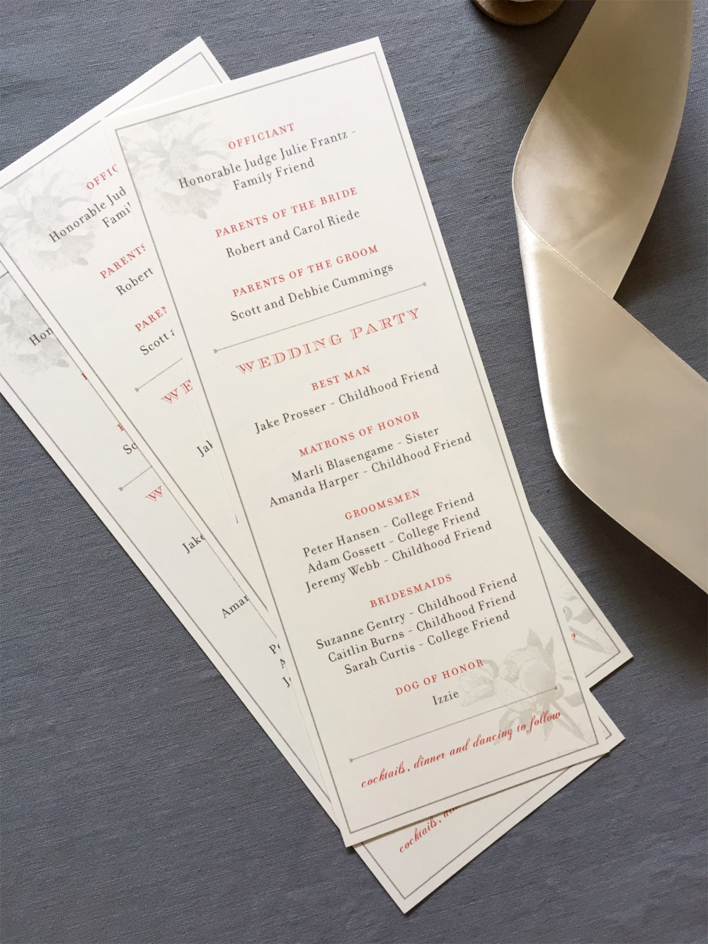 Oregon Classic Wedding Program