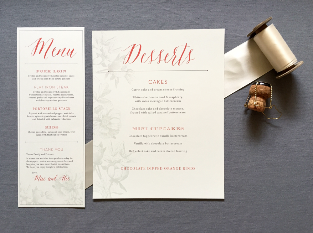 Oregon Classic Wedding Menu