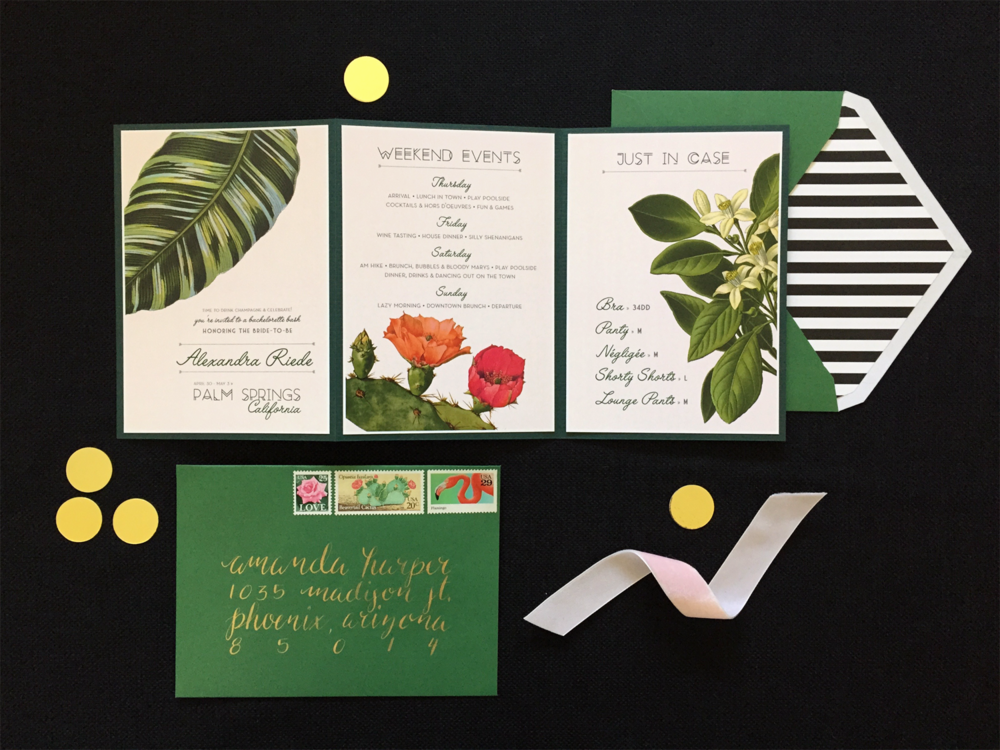 Palm Springs Bachelorette Invitation