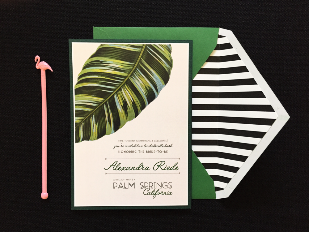Retro Palm Springs Bachelorette Invite