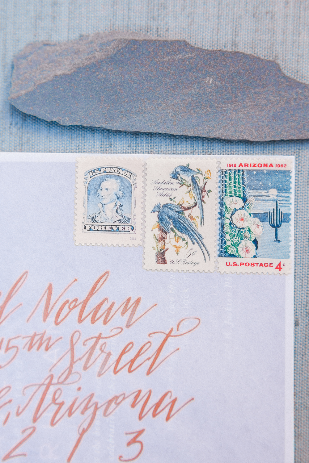 Copper Calligraphy + Vintage Stamps