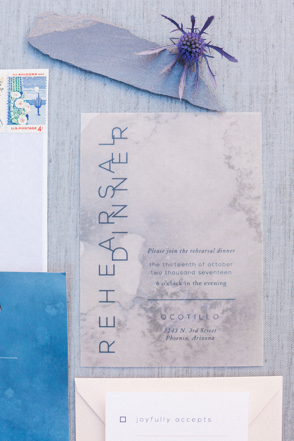 Moody Watercolor Vellum Invite
