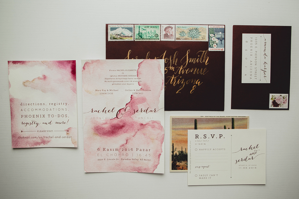 Watercolor and Gold Desert Invitation Suite