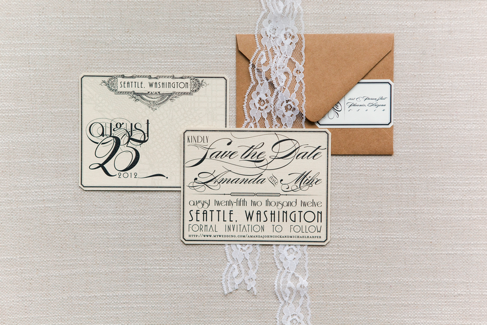 Vintage Glam Save-the-date