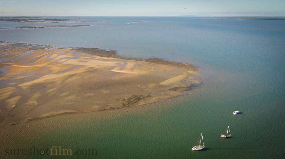 Drone aerial photography of sand bank, Moreton Bay