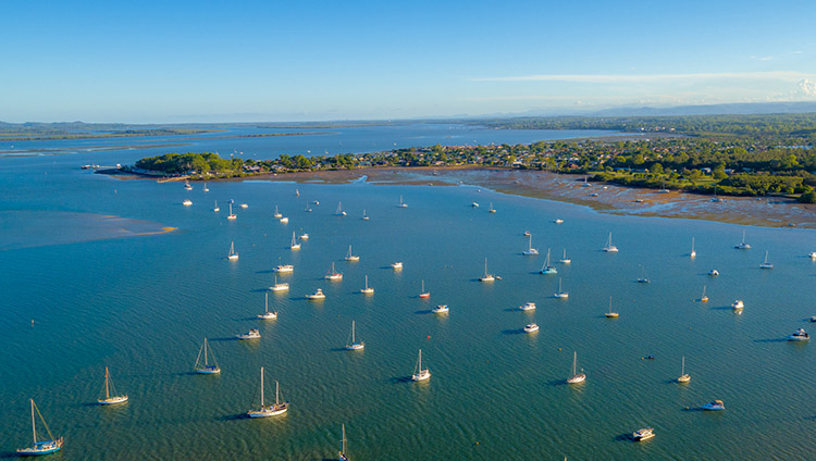 Drone photograph of yachts on Moreton Bay, Brisbane.