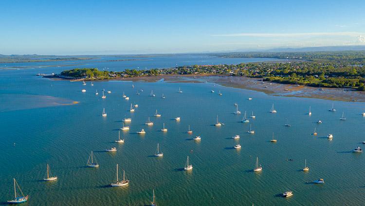 Drone photography of yachts on Moreton Bay, Brisbane.