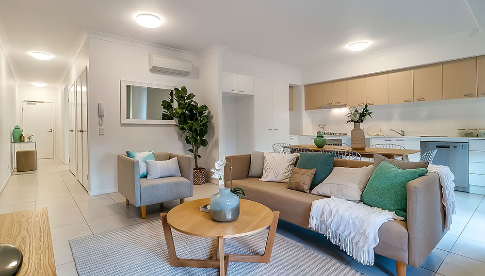 Real estate photography of living room in Brisbane