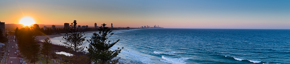 Drone photography — sunset at Burleigh Heads, south of Brisbane, Queensland.
