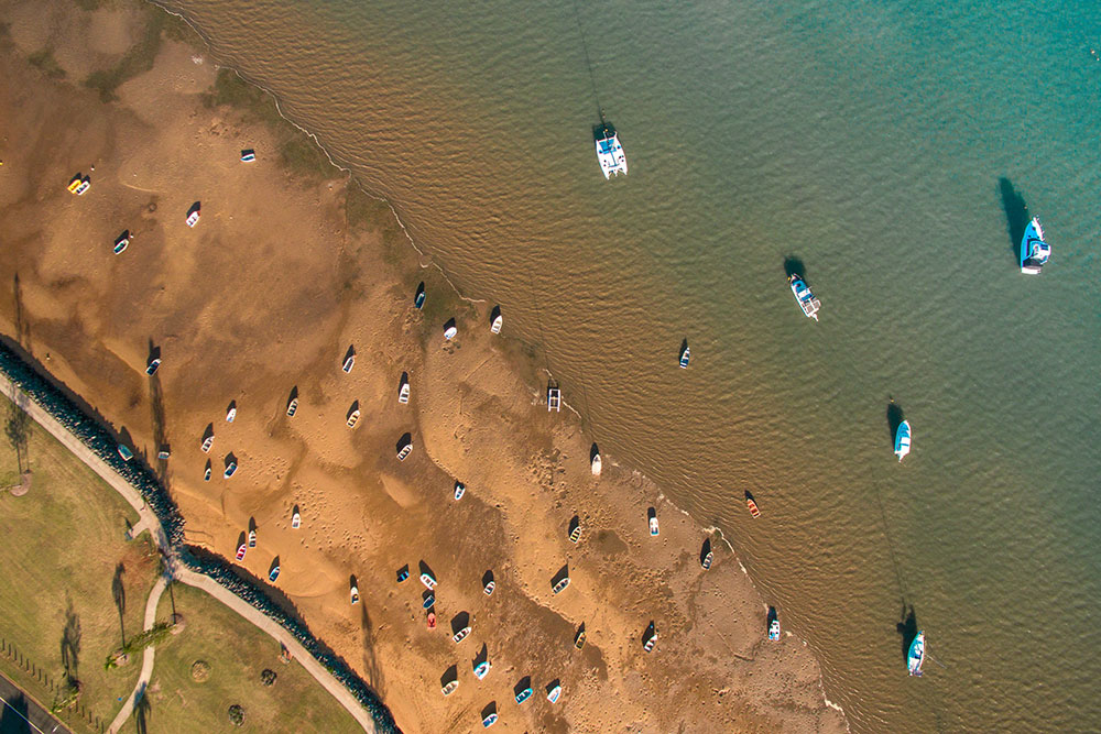 Low tide at Point Halloran, Moreton Bay: Drone aerial photography