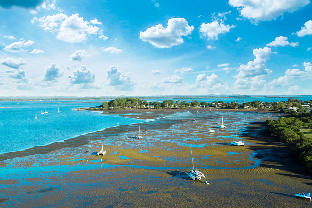 Moreton Bay at low tide: drone aerial photography