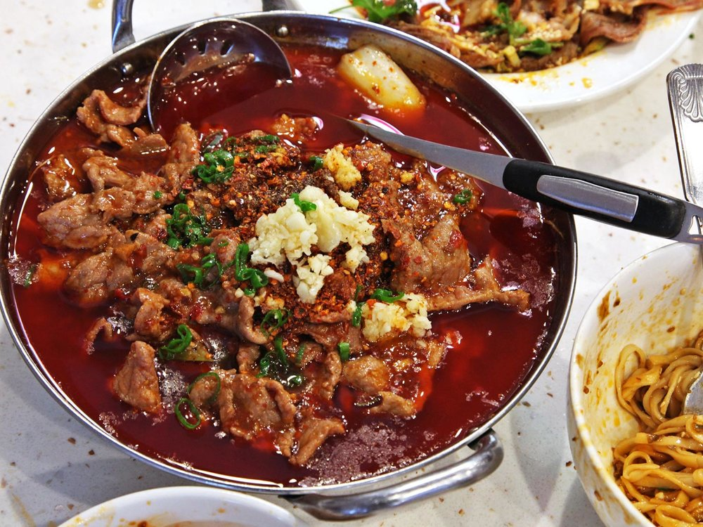 The Boiled Beef in Hot Sauce at Chengdu Taste. Photo credit: Serious Eats LA