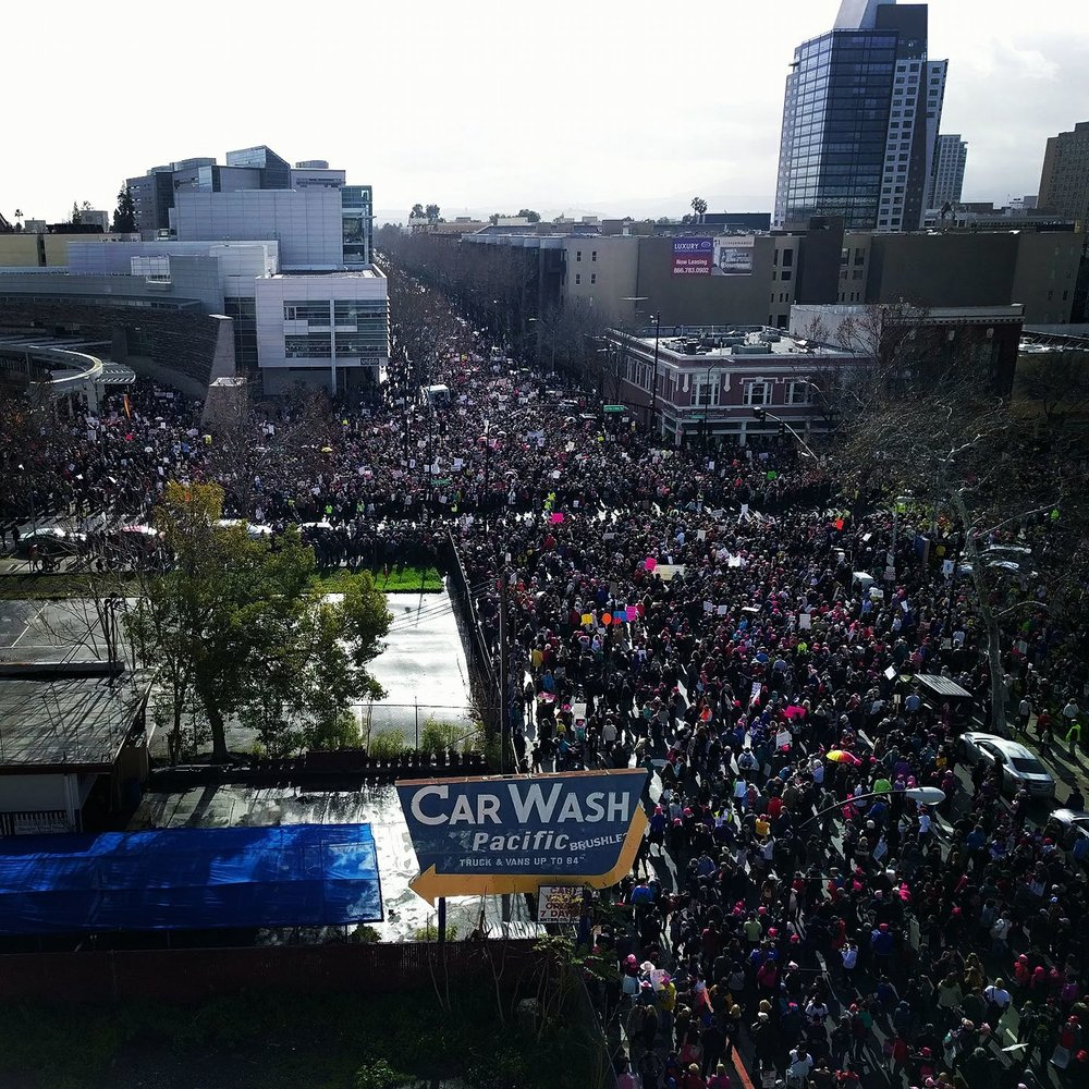 View of the march in downtown San Jose.