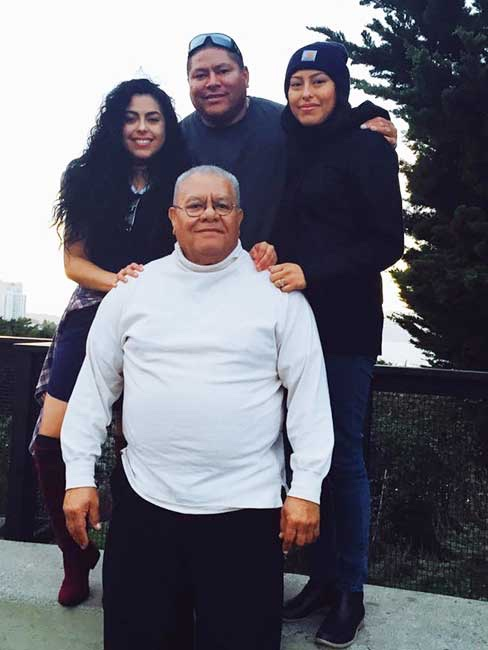 Juliana and her family, reunited with her grandfather Toloafe Richard Kaho.Photo credit: Juliana Brown Eyes-Kaho.