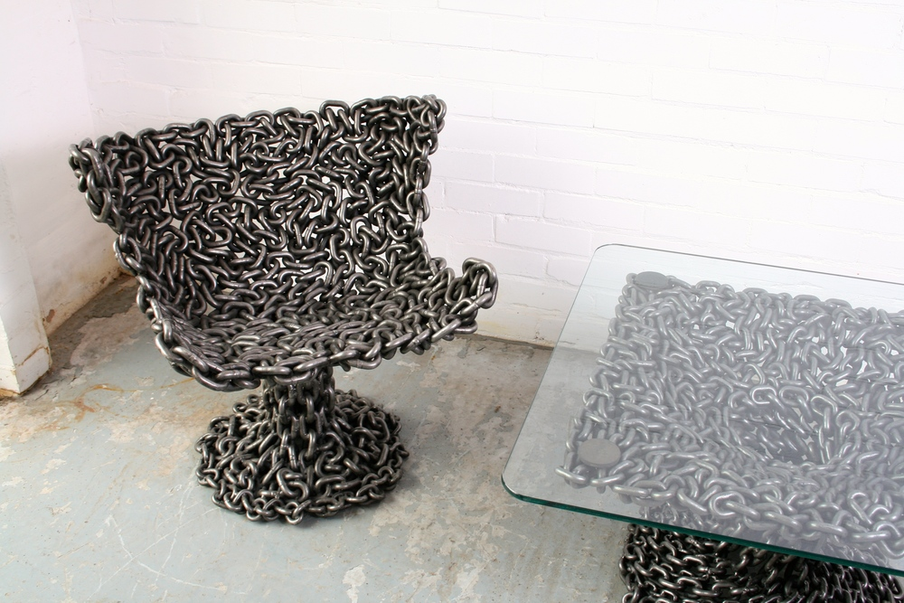 furniture made from recycled materials. chain chair furniture made from recycled materials