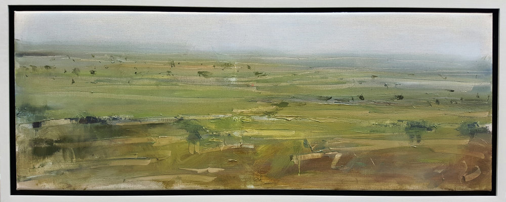'Early morning mist, Somerset levels' 30x80cm oil on canvas.jpg