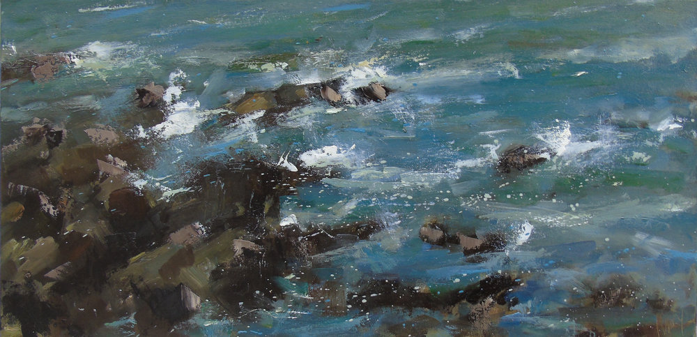 'Rocks and Sea, St Just II' 30x60cm oil on canvas.jpg