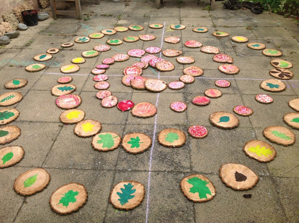 Tree Spiral created by students from Heltwate school using 'tree cookies'