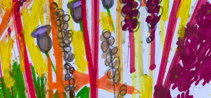 Orache mixed media sketch, detail by Jane Hindmarch