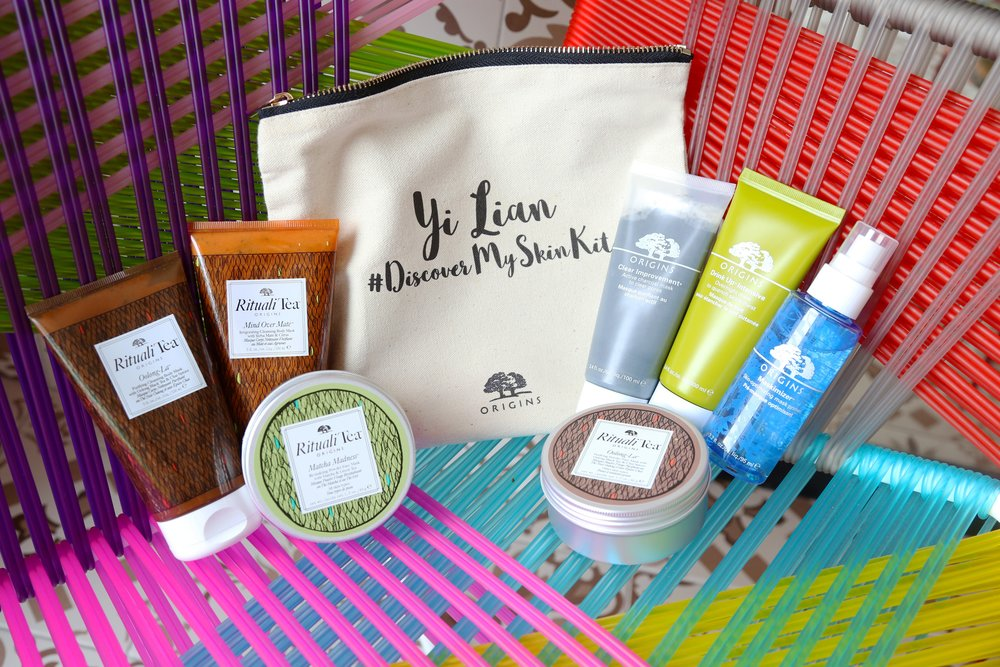 All the different Origins Masks in my personal collection: RitualiTea Body Masks, RitualiTea Powder Face Masks, Clear Improvement charcoal mask, Drink Up Intensive overnight mask and Maskimizer