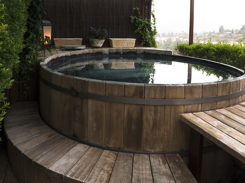 after the Watsu session, you are invited to enjoy an open air hot tub overlooking the beautiful landscape