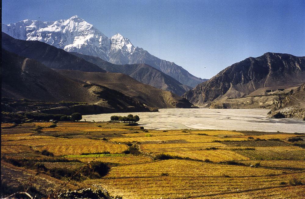Nilgiri in the Annapurna Massif, with the Kali Gandaki - from Kagbeni. scan of printed photo from 2000