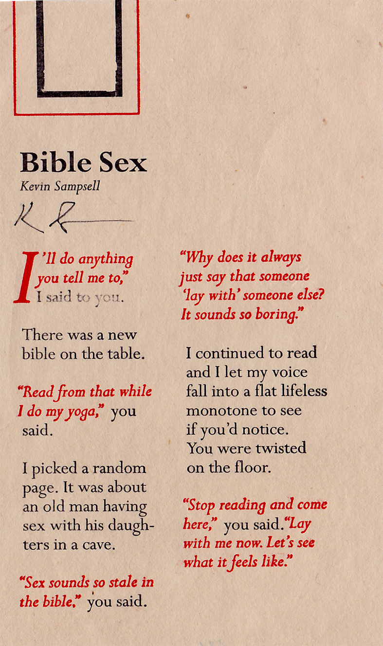 """Bible Sex""  by Kevin Sampsell."