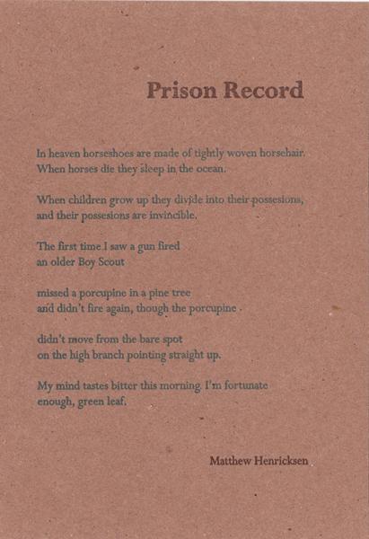 """Prison Record""  by Matthew Hendricksen"
